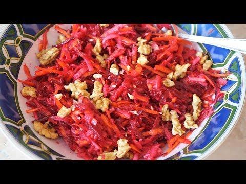 САЛАТ полезный из свеклы, яблока и моркови.
