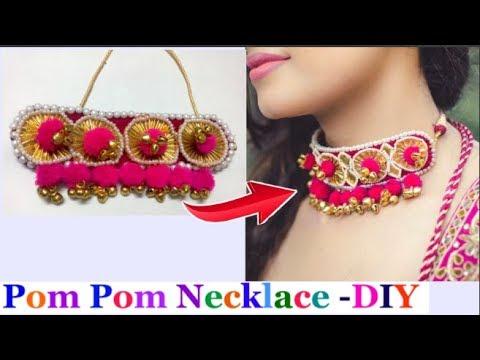 Pom Pom Necklace making | How to make  pom pom Necklace /Gota patti jewellery - navratri special