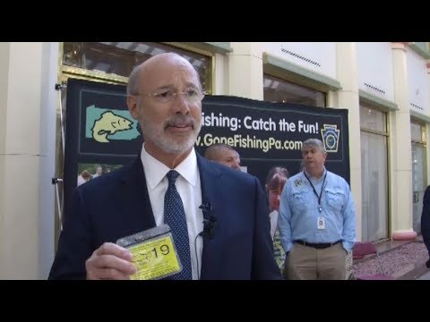 Governor Tom Wolf Purchases A 2019 PA Fishing License (B-roll)