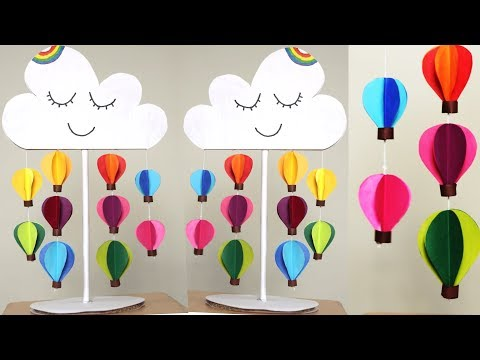 Paper Hot Air Balloon Paper Craft for Kid - DIY Easy paper wall decoration ideas