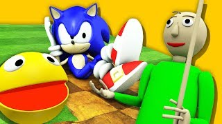 BALDI'S BASICS VS 3D PACMAN and SONIC The Hedgehog (Official series)