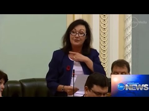 LNP MP Tarnya Smith makes throat slitting gesture to demonstrate the gesture