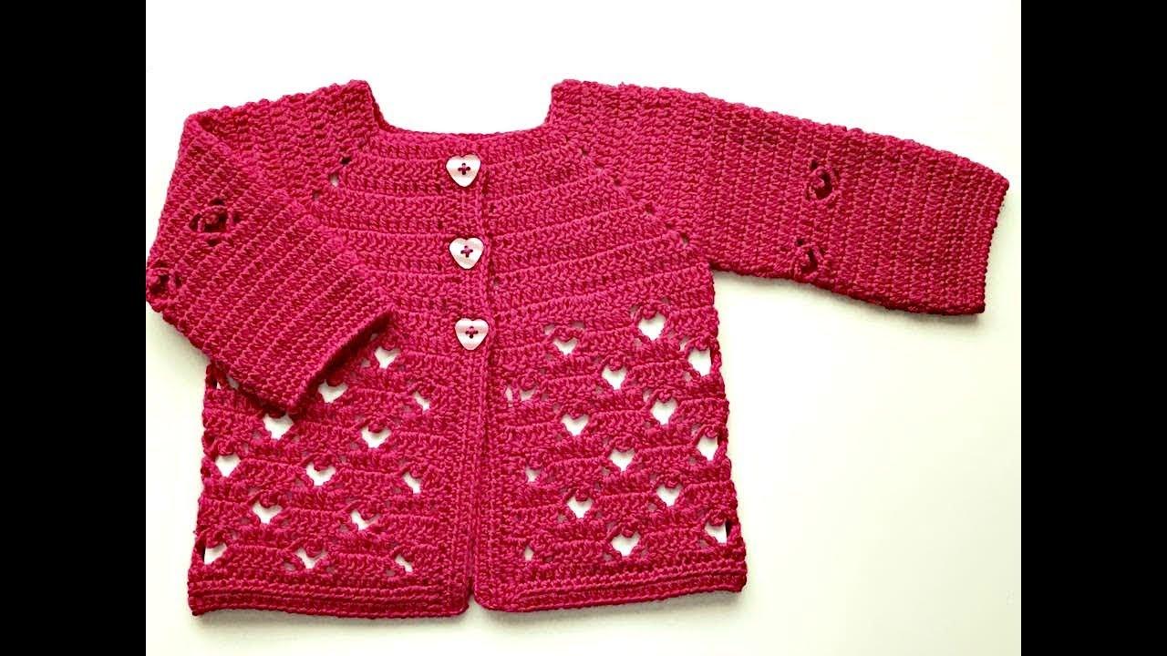 88f3708be Saquito o chaqueta de bebe de 3 a 6 meses a CROCHET - La Magia del  Crochet-PRIMERA PARTE