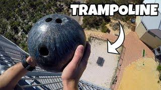Bowlingkugel vs Trampolin aus 45 Metern höhe!
