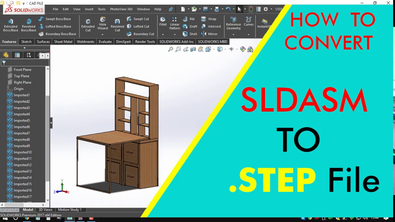 HOW TO CONVERT SOLIDWORKS FILE SLDASM to STEP format