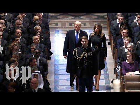 Trumps arrive at National Cathedral for Bushs funeral