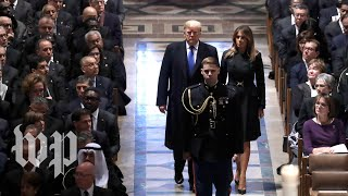 Trumps arrive at National Cathedral for Bush's funeral