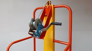 How To Make Mini Forklift Using Winch   Homemade Mini Forklift Using Winch