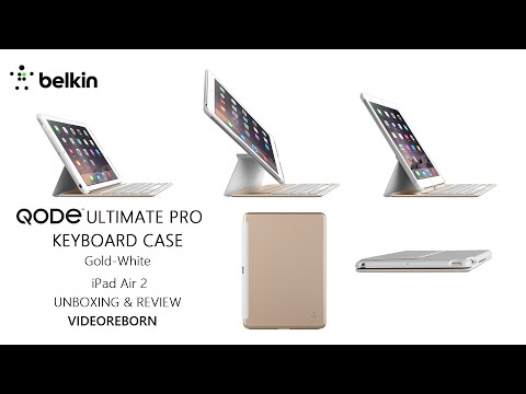Belkin Qode Ultimate Pro Bluetooth Keyboard Case for iPad Air 2 Gold/White Unboxing and Review