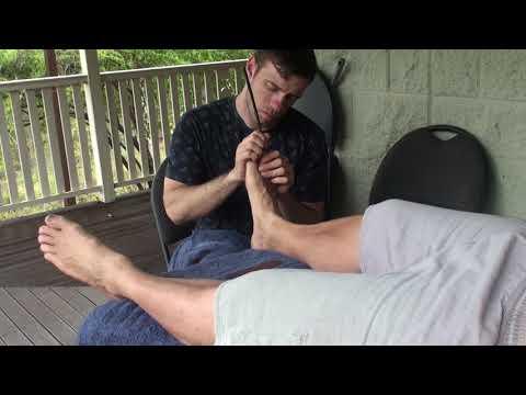 Foot reflexology. Deep Tissue Massage. Raynor Massage. Part 10 of Keogh working on Brandon