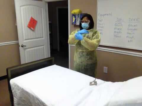 how to put on gown gloves and mask
