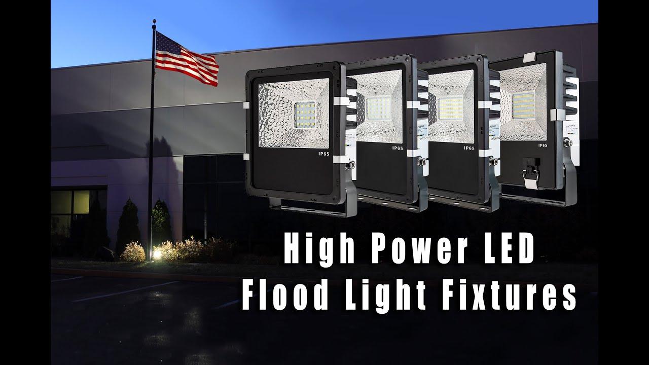 High Power LED Flood Light Fixture - YouTube