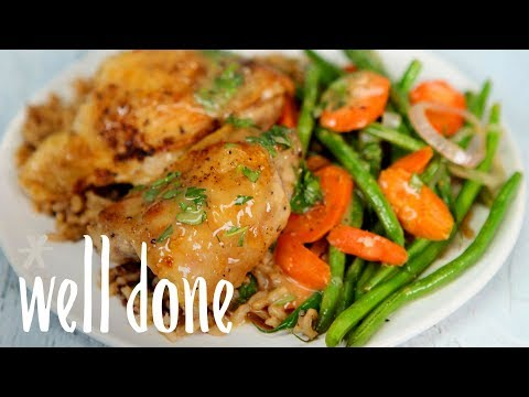 How To Make Crispy Chicken Thighs With White Wine-Butter Sauce And Vegetables | Recipe | Well Done