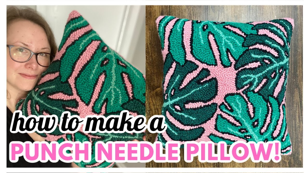 punch needle pillow tutorial easy diy