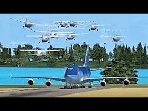 FSX Multiplayer CHAOS: Boeing 747 vs. Group of Cessna's (Steam Edition) Part 4! |