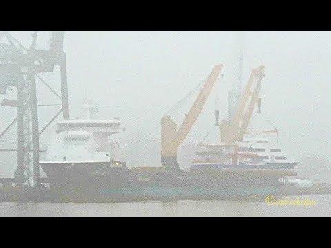 combi lift crane ship PALABORA IMO 9501875 lifts ex Helgoland ferry HALUNDER JET 9281671 Emden