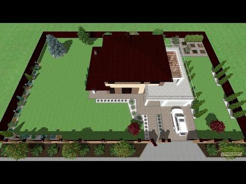Ландшафтный дизайн участка 12 соток. Дом с прилегающей террасой и гаражом.
