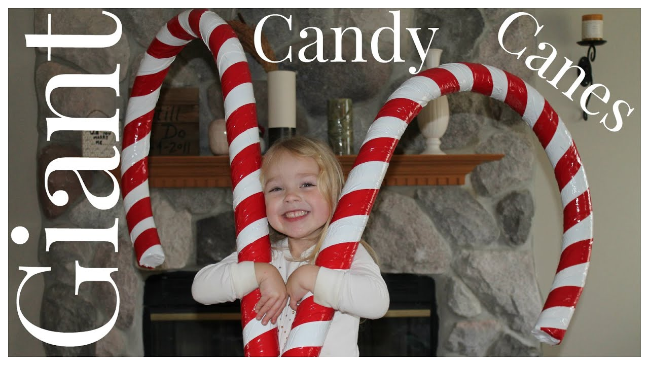 how to make giant candy cane decorations youtube - Christmas Pool Decorations