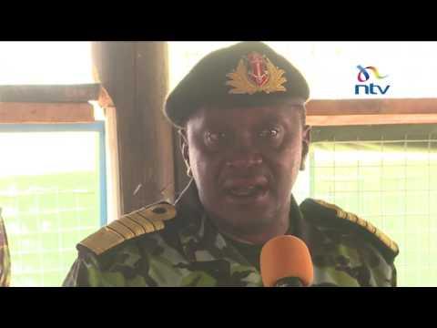 President Kenyatta visits Kenyan soldiers in Dhobley Somalia