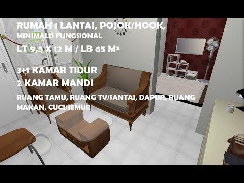 D6 desain rumah pojok 1 lantai, 9,5x12 meter hook, 3 + 1 kamar tidur, desain #2