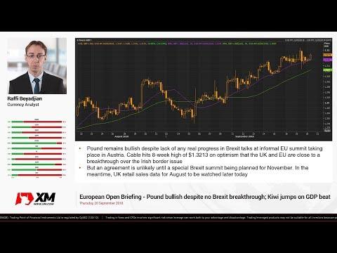 Forex News: 20/09/2018 - Pound bullish despite no Brexit breakthrough; Kiwi jumps on GDP beat