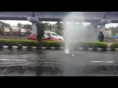 Chennai Flood   Sudden Fountain in the Middle of OmR Road Chennai   Media Directory