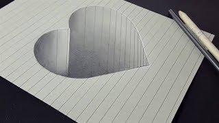 How to draw a 3d heart hole shape - 3d drawing very easy for kids