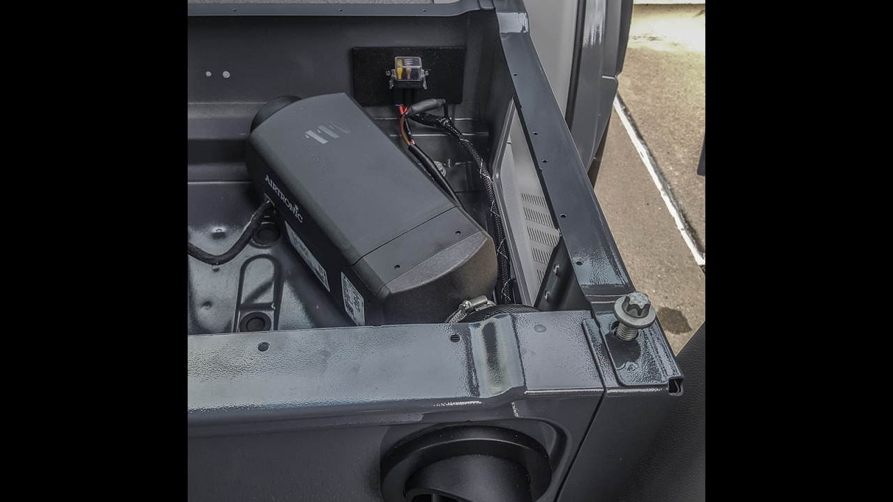 espar d2 diesel heater install in a mercedes sprinter camper van [ 1280 x 720 Pixel ]