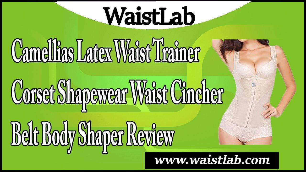 b79f30d9572af Camellias Latex Waist Trainer Corset Shapewear Waist Cincher Belt ...