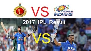 Royal Challengers Bangalore VS Mumbai Indians 2017 IPL Match Result