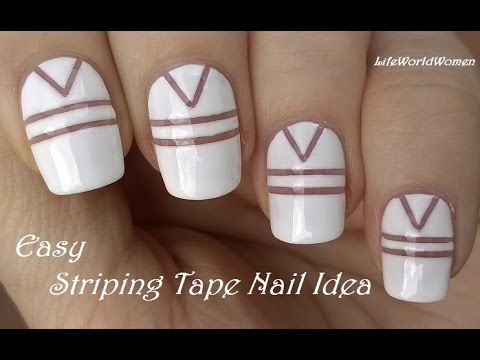 STRIPING TAPE NAIL ART / DIY Easy White Nails Design - STRIPING TAPE NAIL ART / DIY Easy White Nails Design - YouTube