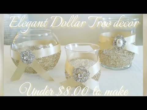 DIY | BLING CANDLE HOLDER DECOR | GLAM IDEA! UNDER $5.00 | DOLLAR TREE GLAM DECOR | INEXPENSIVE DIY