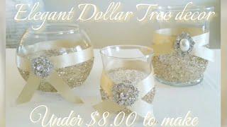 DIY | BLING CANDLE HOLDER DECOR | GLAM IDEA! UNDER $5.00 | DOLLAR TREE GLAM DECOR | INEXPENSIVE DIY