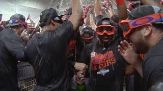Astros celebrate playoff berth in clubhouse