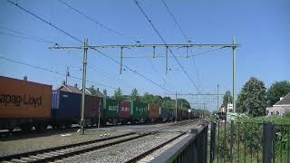 Rurtalbanh Cargo 186 422-2 met Containertrein langs Gilze Rijen.
