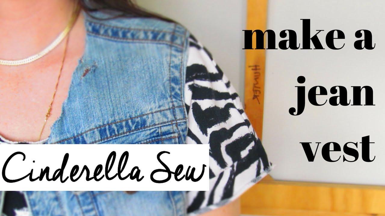cda25f93ad Cut a jean jacket into a vest - Make a denim vest - Easy DIY Clothing  Restyle Tutorials - YouTube