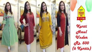 Amazon Affordable kurtis Haul under Rs 500 Casual Office College wear Kurtis Sarita malik