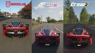 DriveClub vs Forza Horizon 3 vs The Crew 2 - Ferrari FXX K Sound Comparison