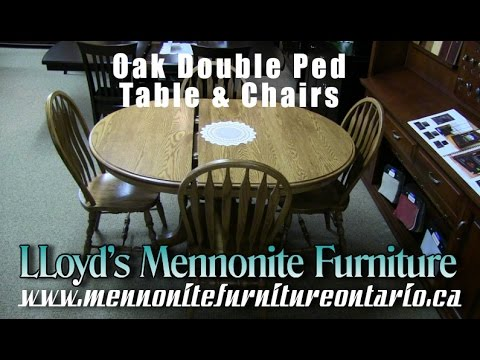 Solid Oak Double Pedestal Dining Room Table Chairs Mennonite - Solid oak double pedestal dining table