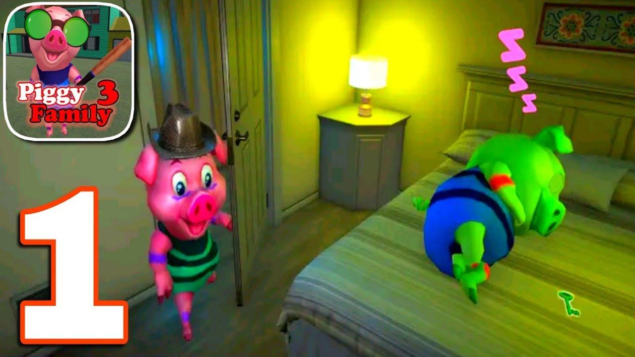Piggy Family 3 : Scary Neighbor Obby House Escape Gameplay Walkthrough Part 1 || Level 1 to 5 ||