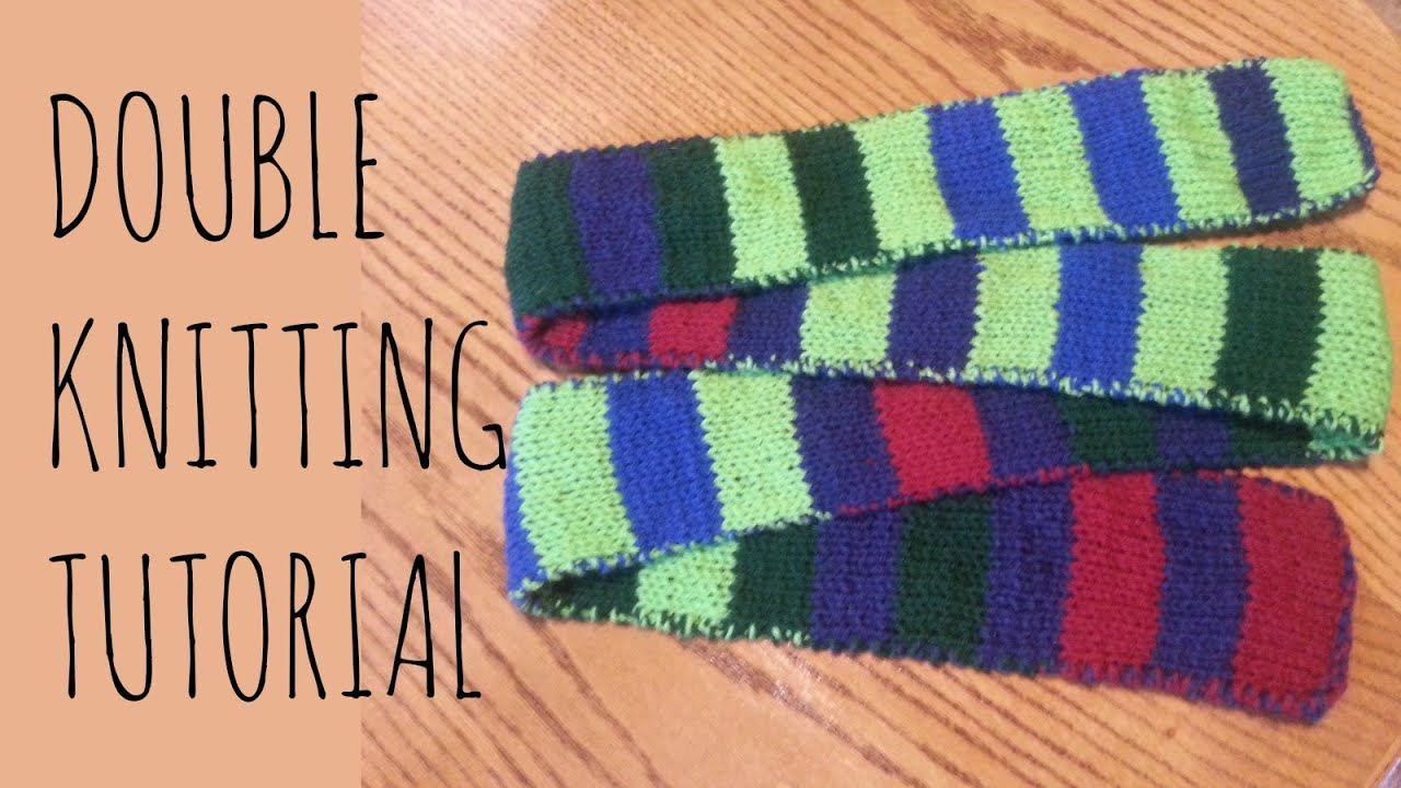 Double Knitting Tutorial | Striped Scarf - YouTube