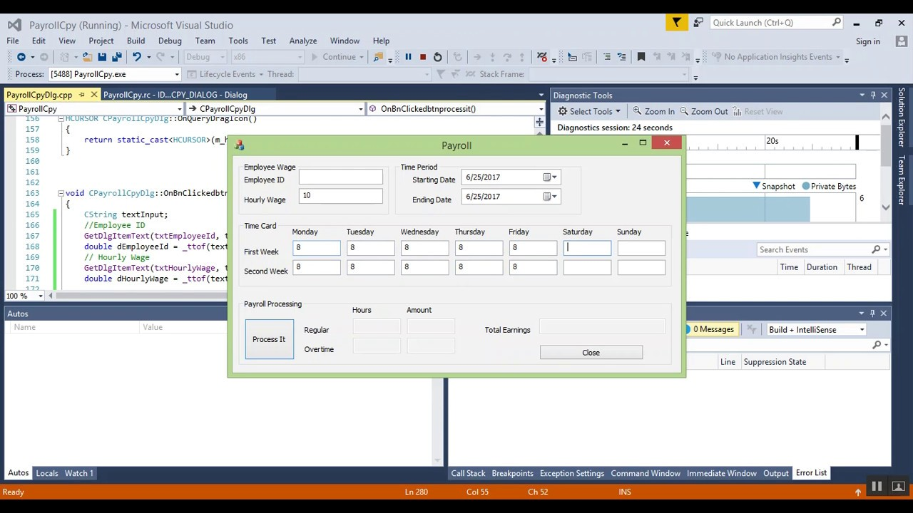 Visual Studio 2015 Visual C++ MFC 2017 - 06 - Add Payroll Functionality