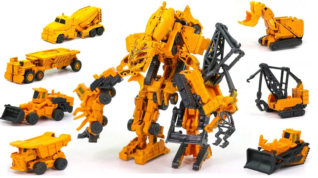 Transformers Yellow Color Constructicon EZ Devastator 7 Vehicle Combine Robot Transform Car Toys