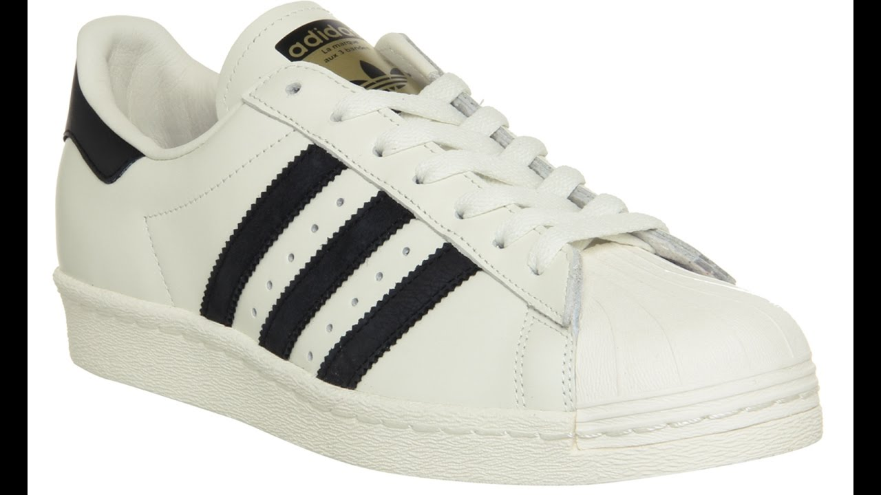 e2ca66c78a2d Adidas Superstar 80s Dlx White Black - YouTube
