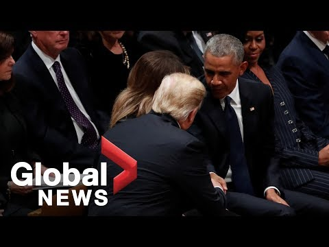 Bush funeral: Obamas greet Trumps with handshakes inside National Cathedral