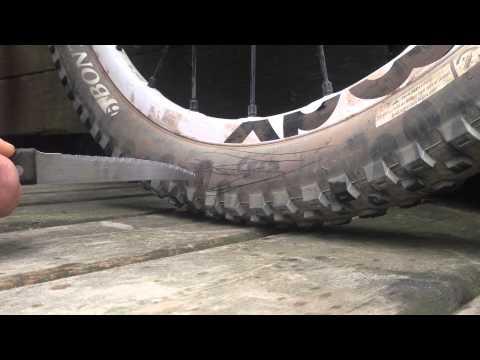 Slashing a big Bontrager MTB tire