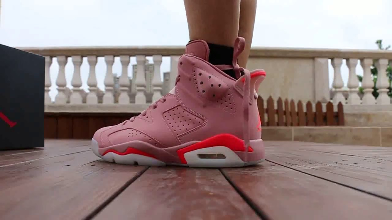 22c7e18a55be5c Millennial Pink Air Jordan 6 on feet HD Review - YouTube