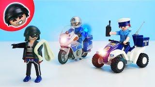 POLIZEI MOTORRAD mit GANGSTER - Playmobil Polizei Film - KARLCHEN KNACK