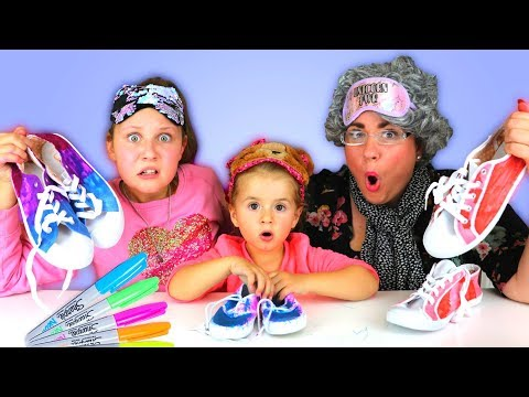 3 Colors Tie Dye Shoes Challenge! Greedy Granny vs Ruby Rube & Bonnie
