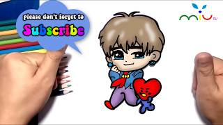 How to draw V and Tata BTS BT21 ❤ MiuTV Draw for Kids